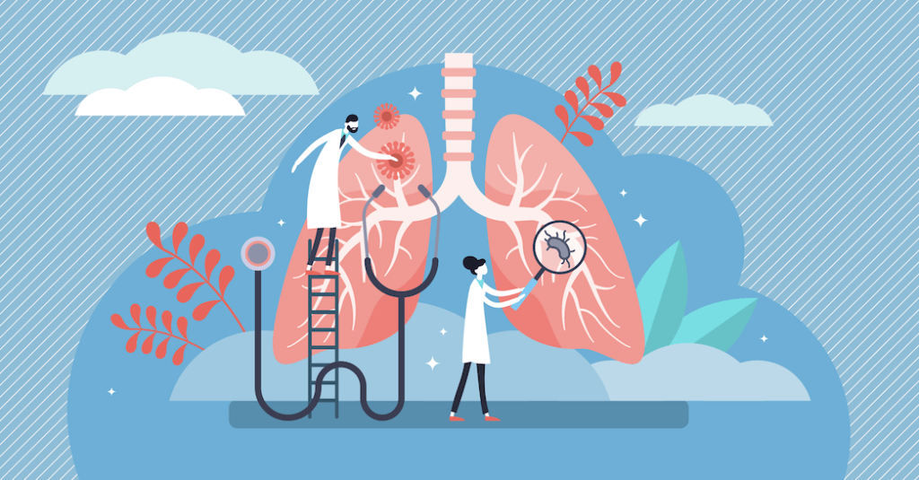 Comic illustration of scientists looking at lungs