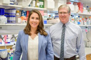 Jessalyn Ubellacker, Ph.D and Sean Morrison, Ph,D. in the lab